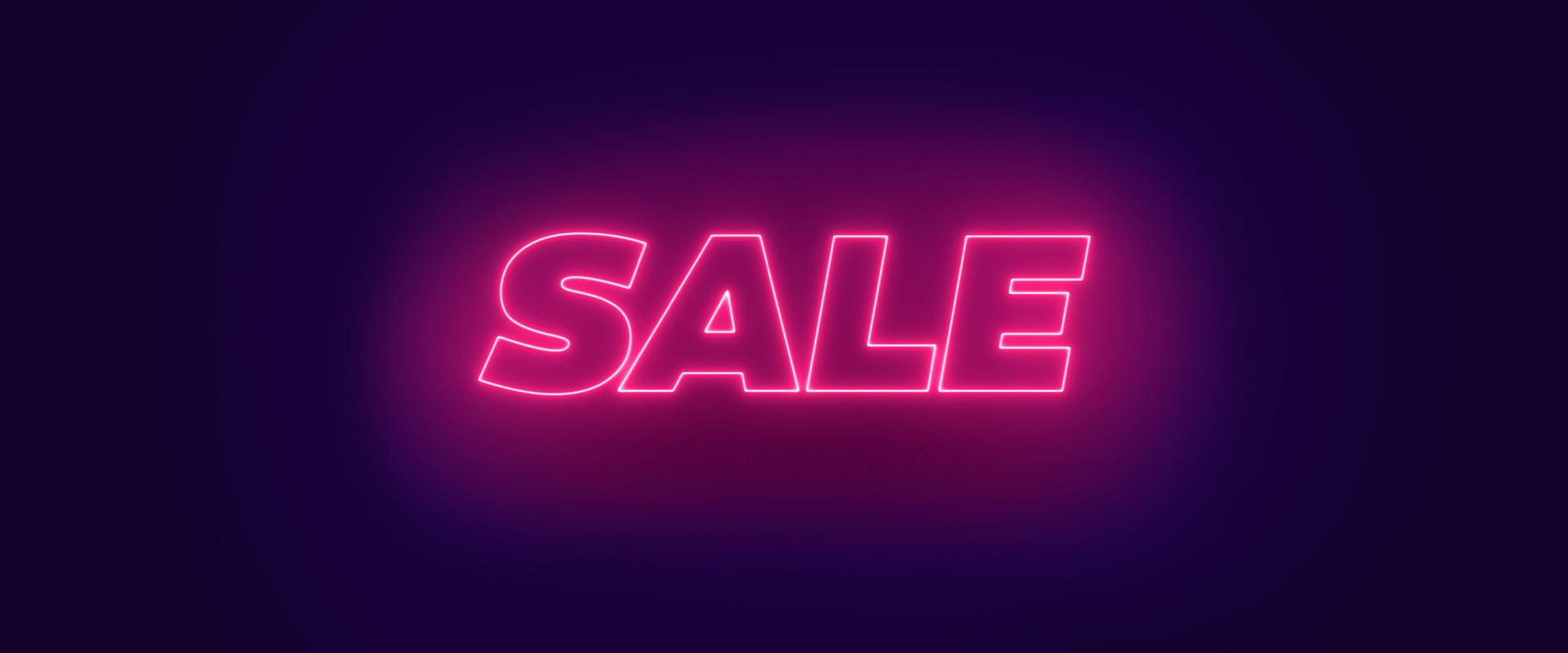 Neon Sale-Schriftzug auf lila Hintergrund