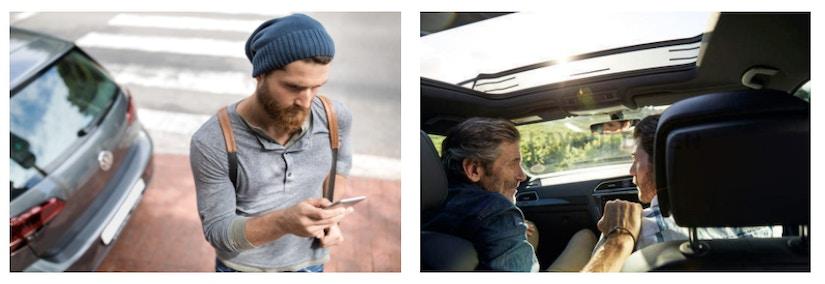 Junger Mann schaut auf sein Smartphone und zwei Männer sitzen im Auto und unterhalten sich.