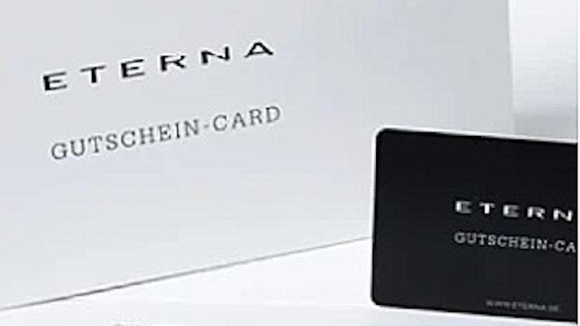 Eterna Geschenkgutschein auf weißem Hintergrund