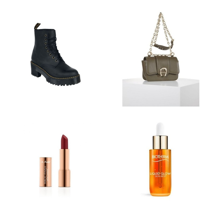 Eine Collage mit Schuhen, Tasche, Lippenstift und Geschichtscreme