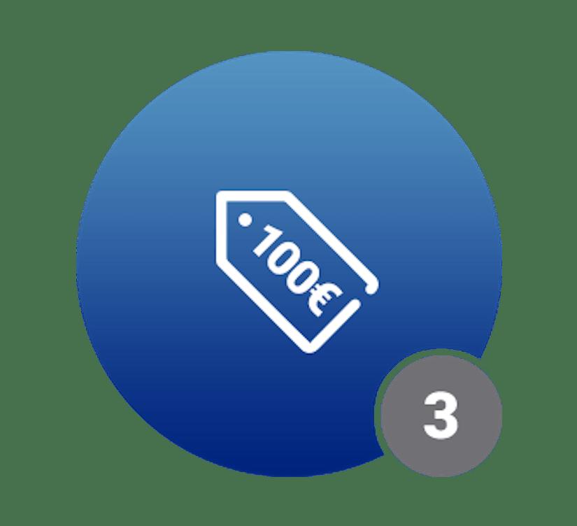 Ein blauer Kreis mit dem Schriftzug 100€