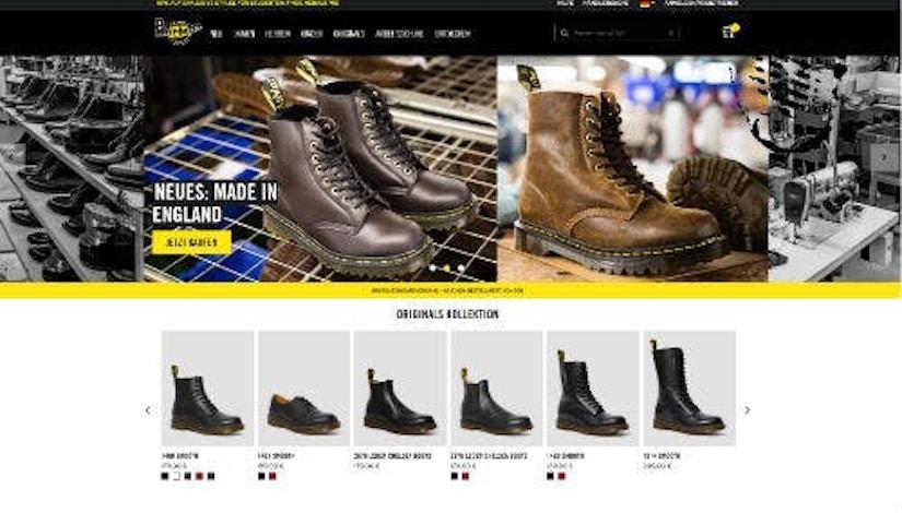 Screenshot Webseite Dr. Martens