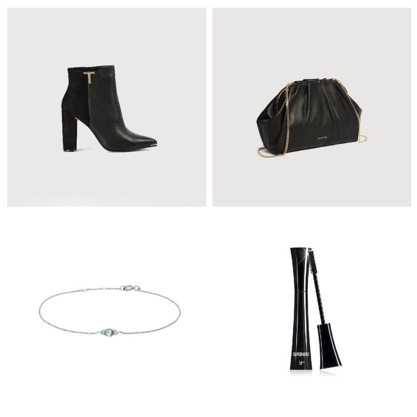 EIne Collage aus Schuhen, Tasche, Armband und Mascara