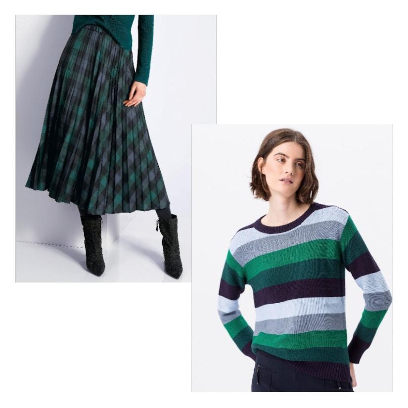 Collage mit einem Rock und einem Pullover