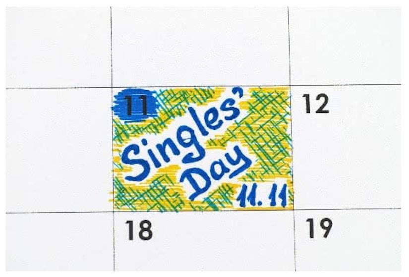 Ein Kalender auf dem Singles' Day am 11. markiert ist