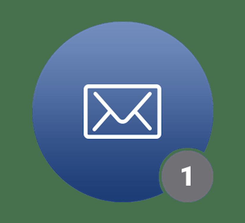 Ein blauer Kreis mit einem Brief-Icon