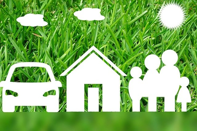 Grafik: Auto, Haus Familie