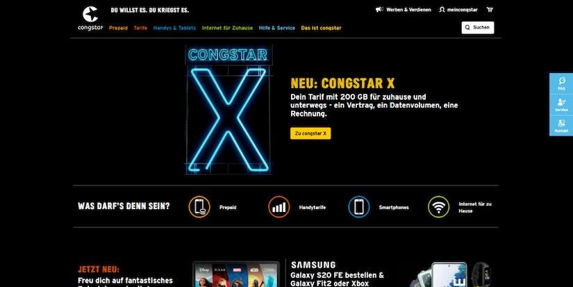 Screenshot Congstar Startseite: Congstar X