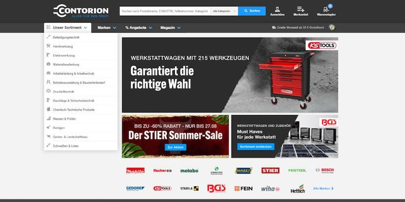 Screenshot der Contorion Webseite–garantiert die richtige Wahl