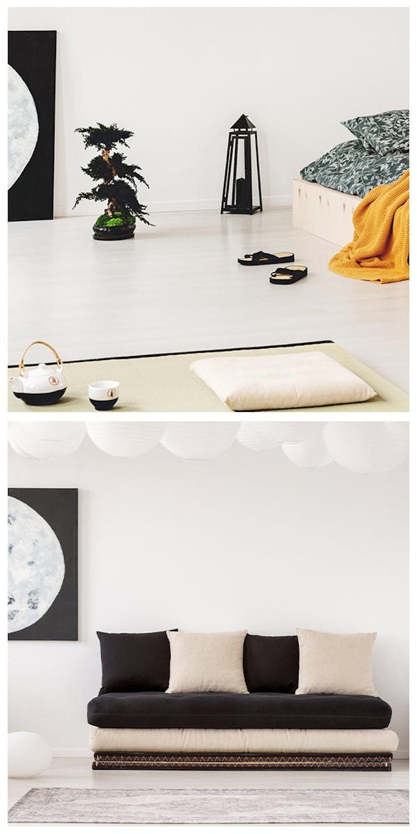 Collage des Wohnstils Japandi