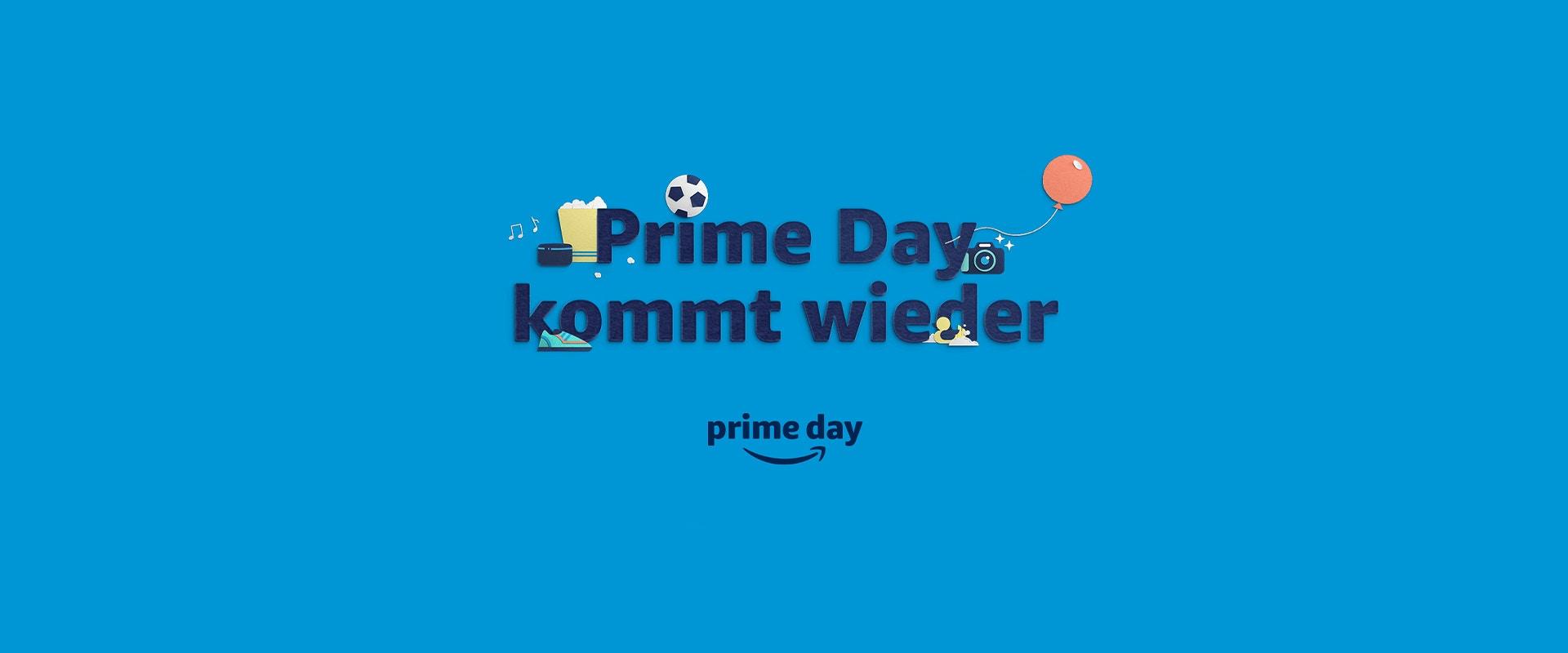 Amazon Prime Schriftzug auf blauem Hintergrund.