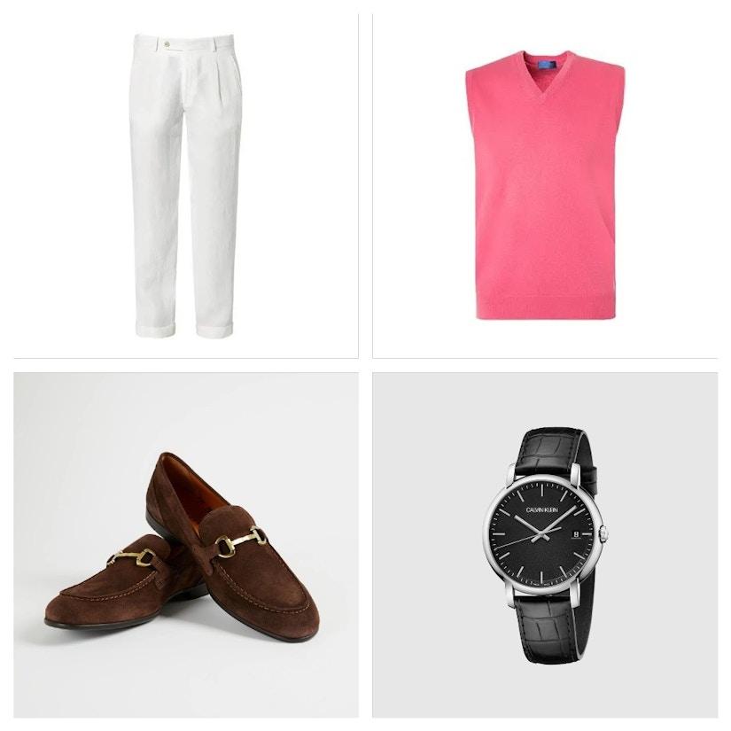 Collage von Hose, Pullunder, Schuhen und Armbanduhr