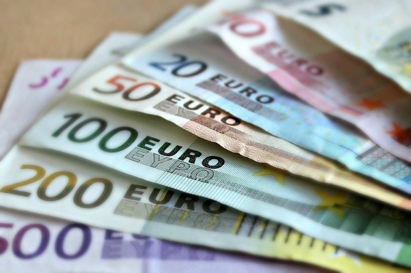 Euroscheine aufgefächert
