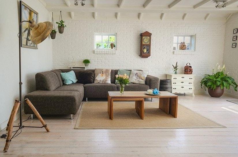 Wohnzimmer mit Sofa, Stehlampe, Couchtisch, Pflanzen