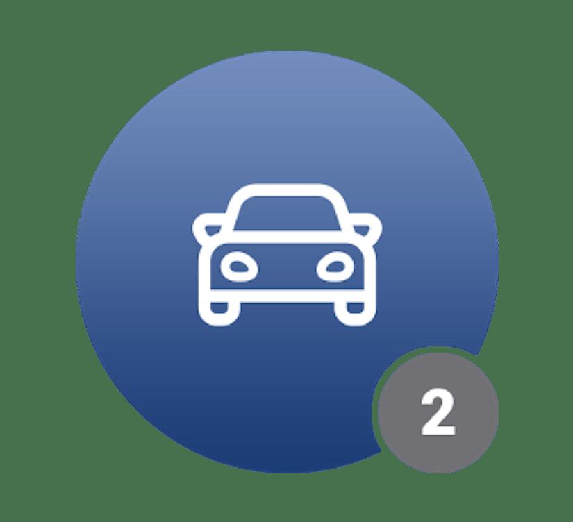 Ein blauer Kreis mit einem Auto-Icon