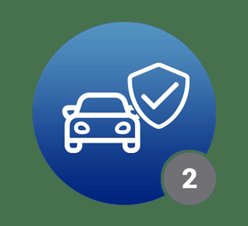 Ein blauer Kreis mit einem Auto-Symbol