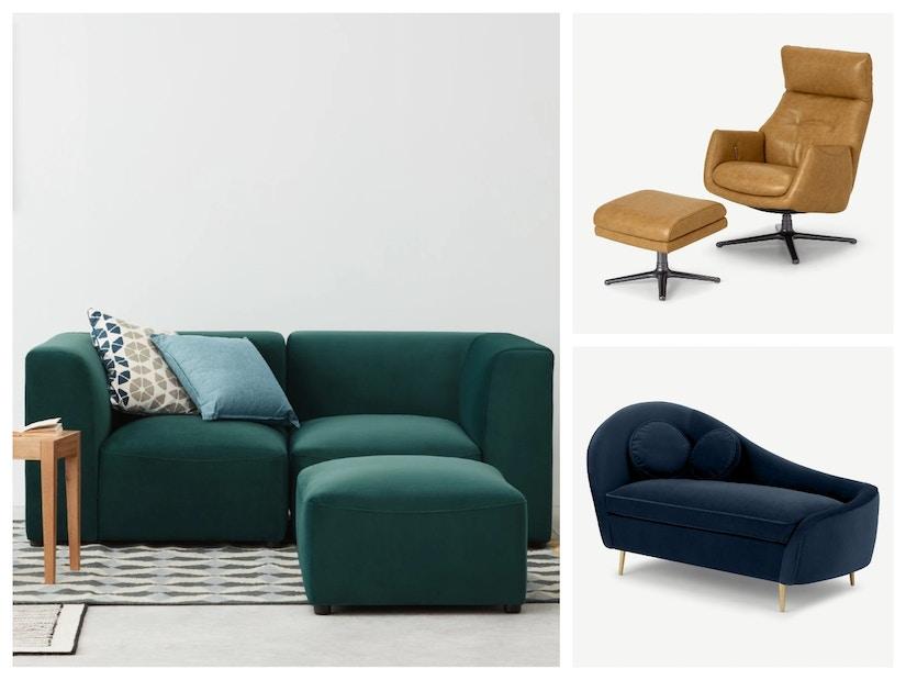 Eine Collage von Sofas und Sesseln