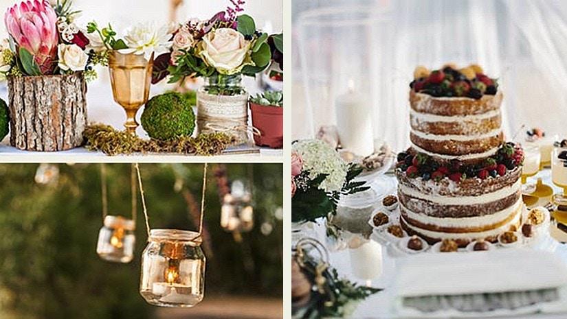 Eine Kollage zum Thema Hochzeit mit Hochzeitstorte, Blumen und Kerzen.