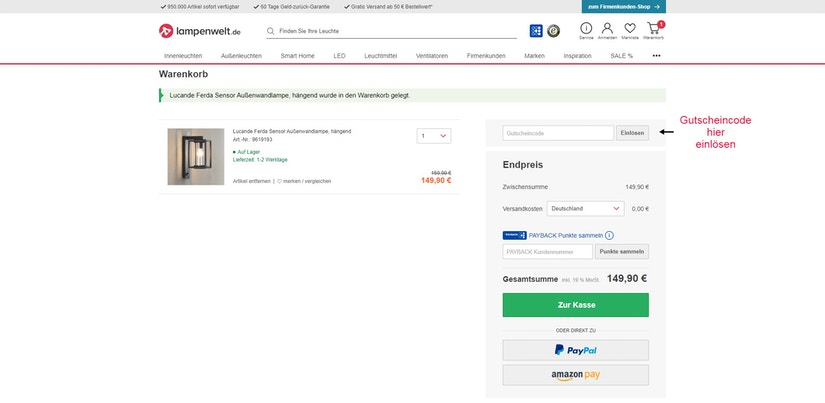 Screenshot vom Lampenwelt Bezahlprozess