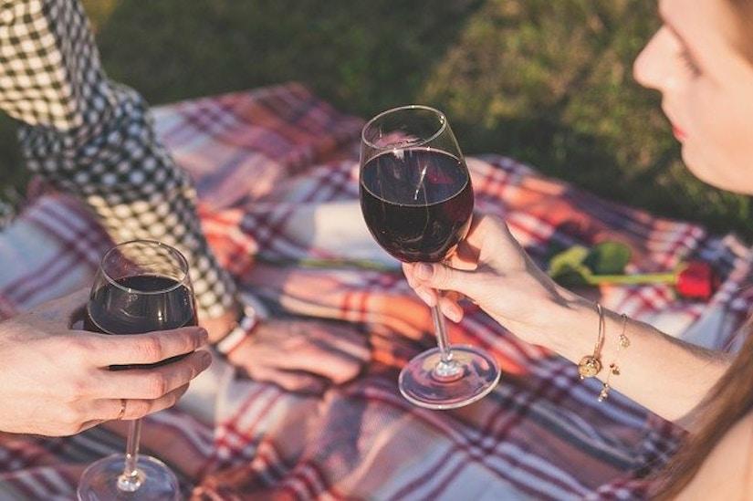 Pärchen stößt mit Rotwein auf Picknick-Decke an.