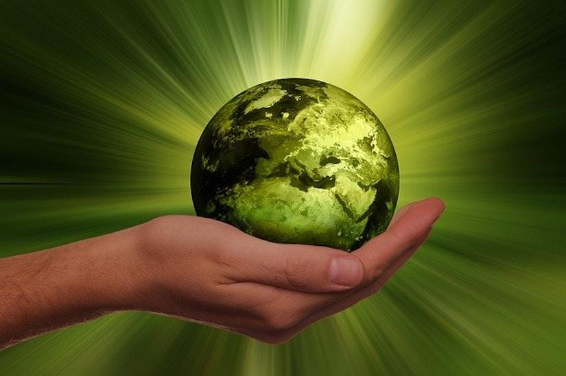 Hand hält grüne Erde
