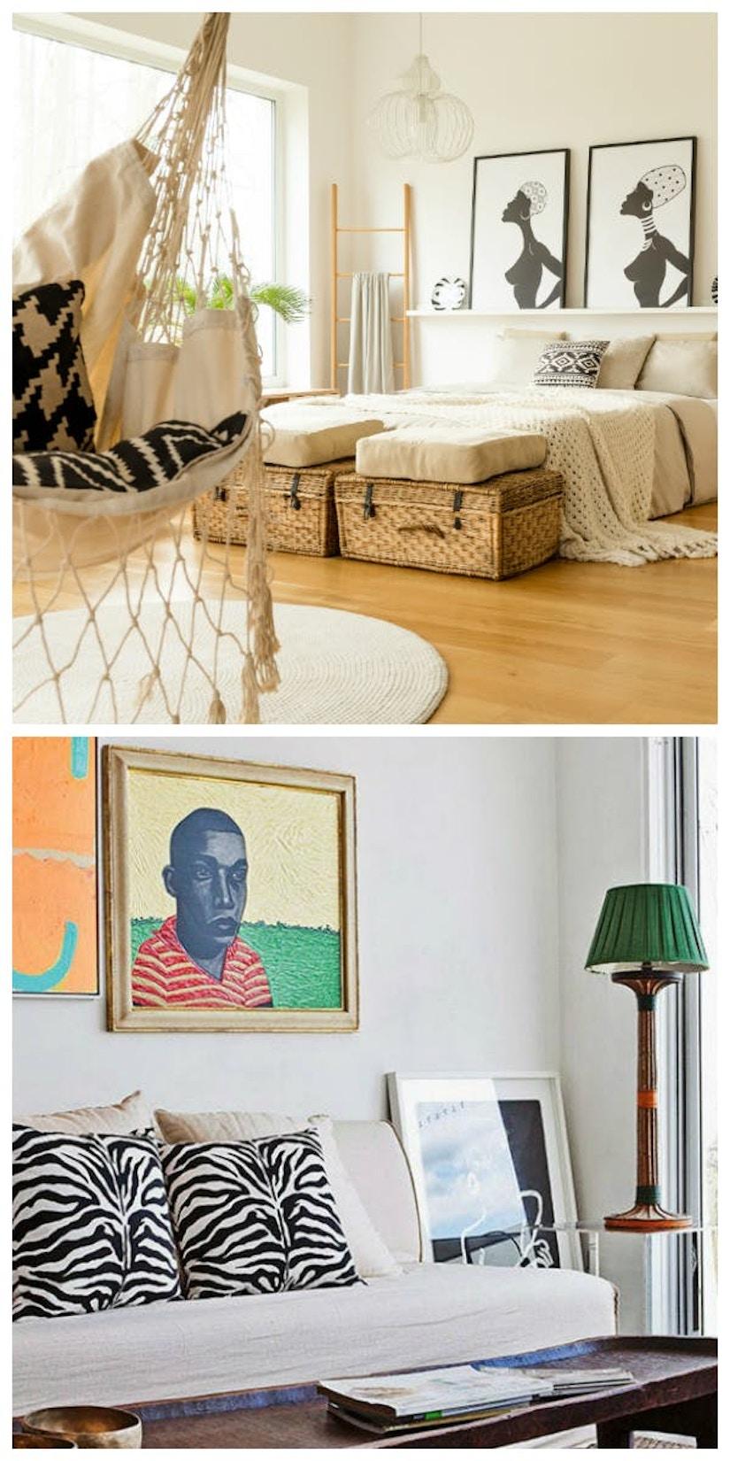 Collage des Wohnstils Boho Chic