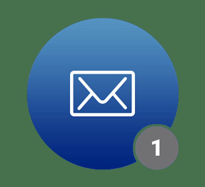 Ein blauer Kreis mit einem Brief-Symbol