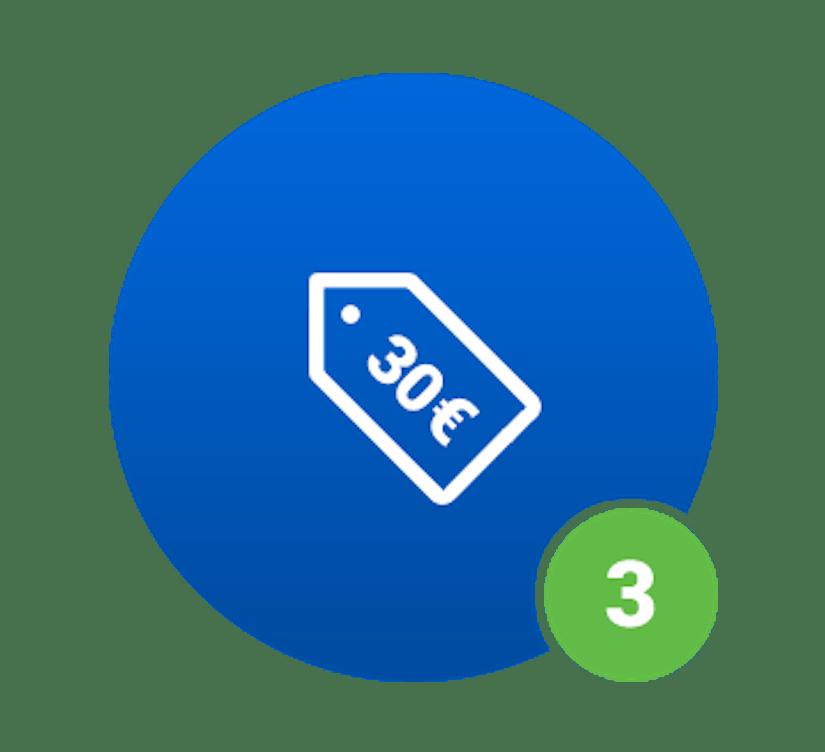 Ein blauer Kreis mit einem 30€-Schriftzug