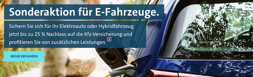 Bild mit der Aufschrift: Sonderaktion für E-Fahrzeuge.