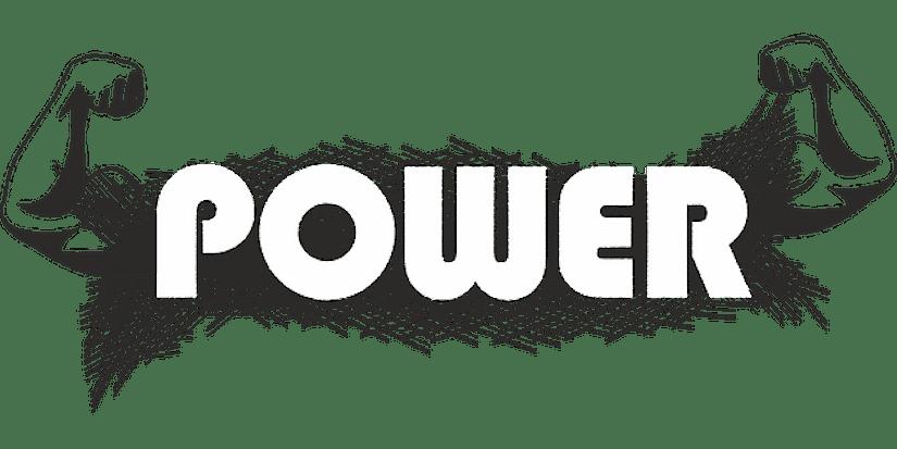 Zeichnung: geflexte Arme, Worte POWER