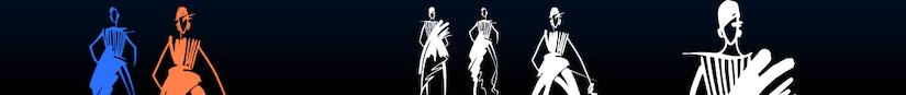 Grafiken von Mode-Figuren vor schwarzem Hintergrund