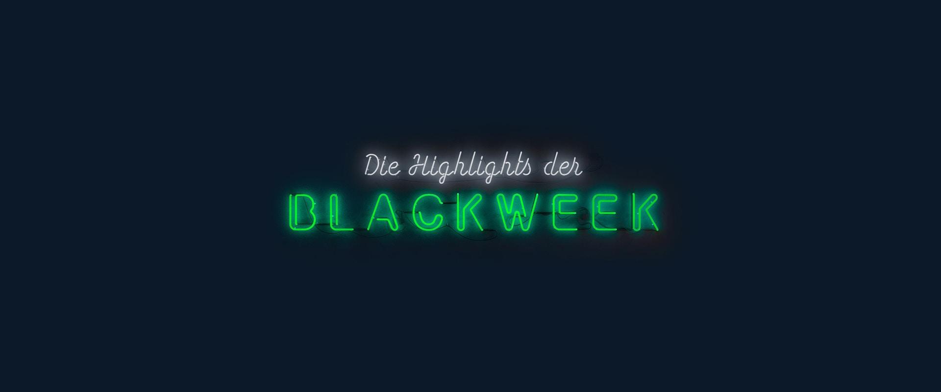 Black Week Schriftzug in Neongrün auf einem schwarzen Hintergrund