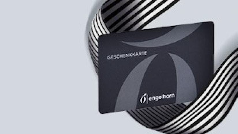 Engelhorn Geschenkgutschein auf grauem Hintergrund