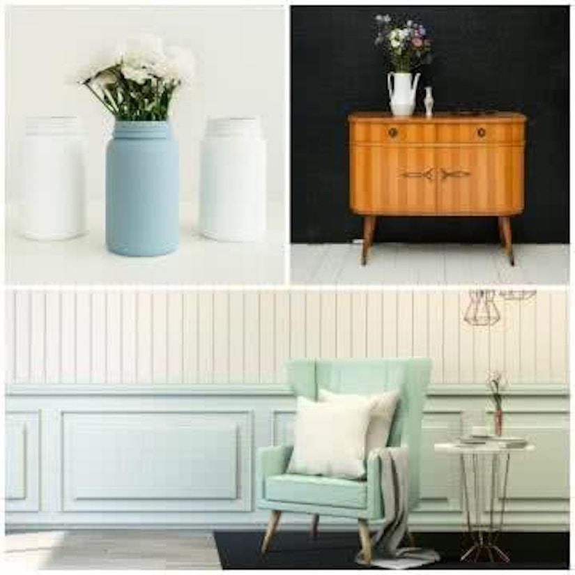 Eine Collage aus Vase, Schrank und Sessel
