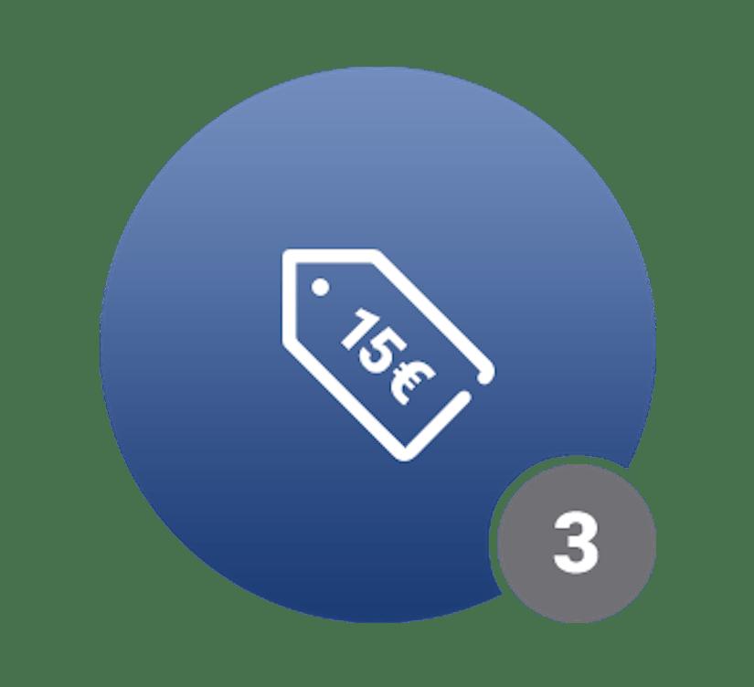 Ein blauer Kreis mit einem 15€-Schriftzug