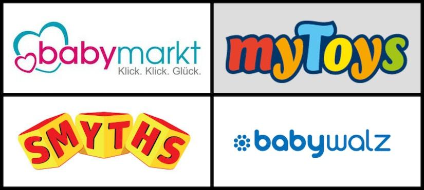 Logo-Collage von Baby- und Kind-Shops