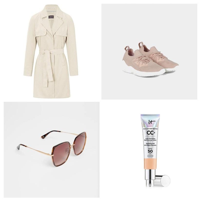 Eine Collage mit Trenchcoat, Sneaker, Sonnenbrille und Foundation