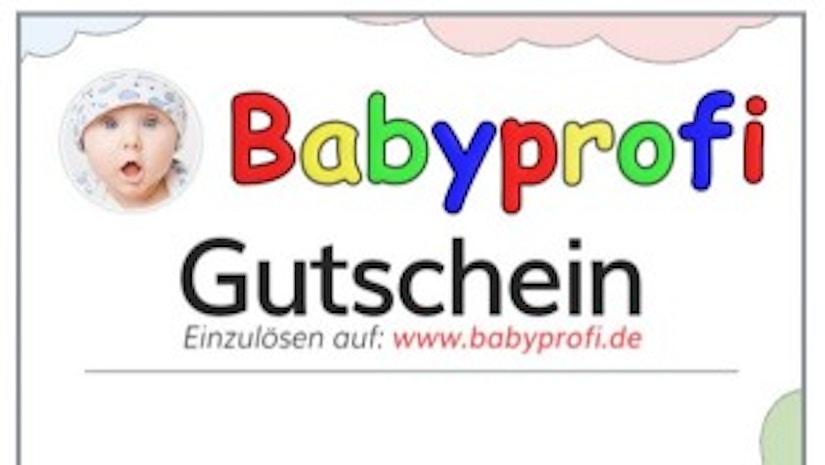 Babyprofi Gutschein auf weißem Hintergrund