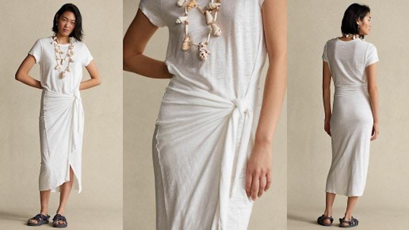 Gewickeltes T-Shirt-Kleid aus Leinen von Ralph Lauren in 3 Perspektiven